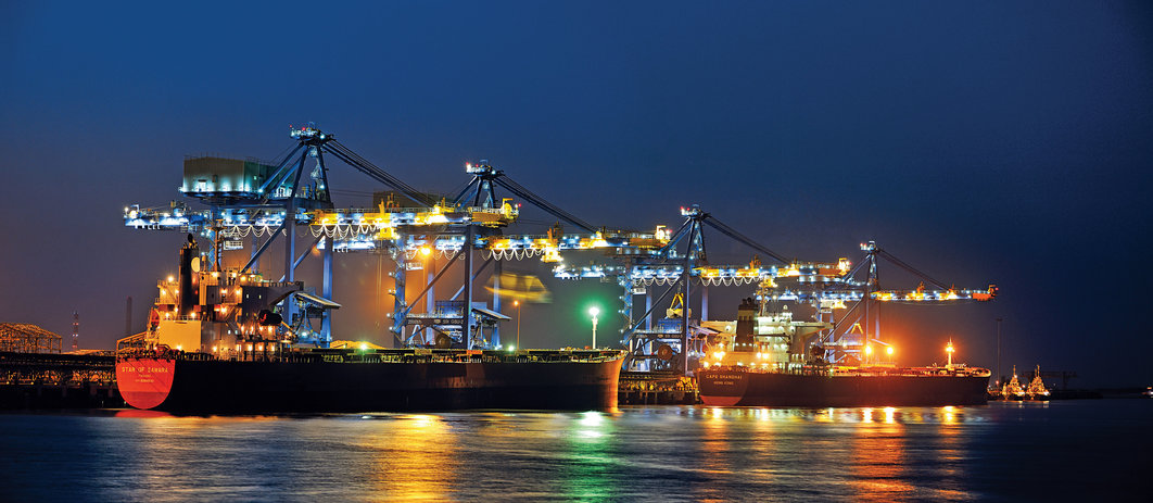 Ships in port by night