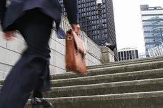 Man going up steps