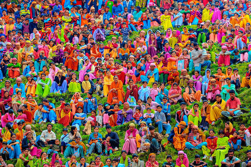 Large group of rural people