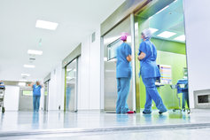 Hospital staff outside an operating theatre