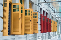 red and yellow window shutters