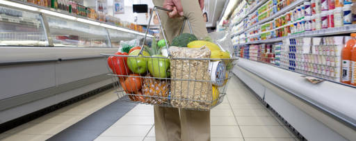 customer with items in a basket