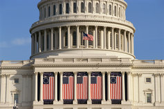 Capitol Building in Washington with US flags on display