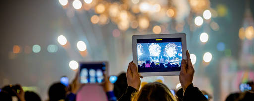 ipads capturing fireworks display