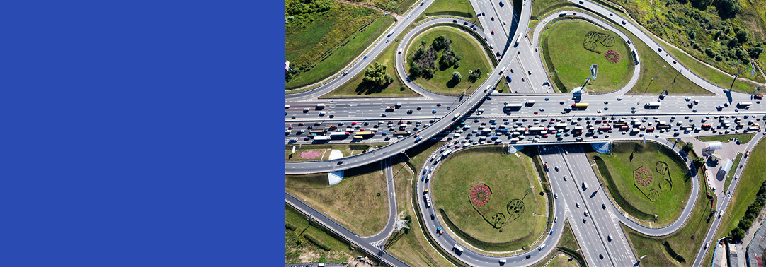 Aerial view highway interchange Moscow city
