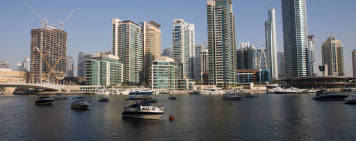 Boats moored at Dubai marina