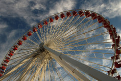A ferrris wheel against a cloudy sky