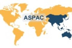 World map highlighted Asia Pacific
