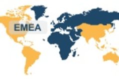 World map highlighted EMEA