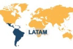 World map highlighted Latin America