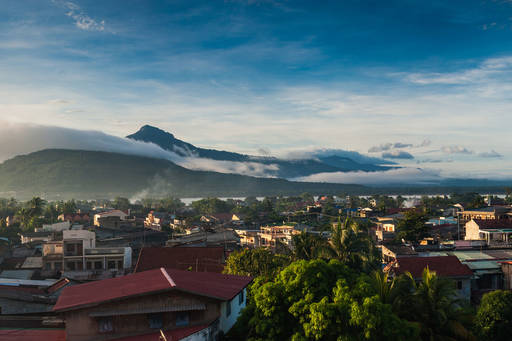 Mountains and buildings in Laos