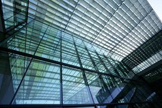 Modern Transparent Glass Building Front Roof