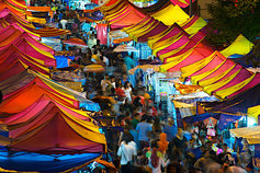 Multi-colored tents in a marketplace