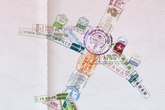 Passport stamp in shape of plane