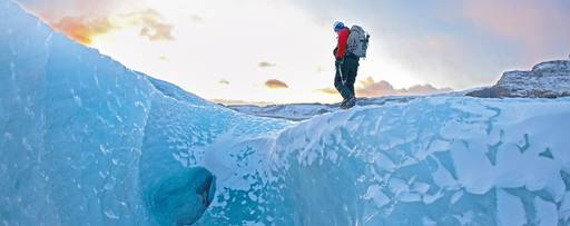 Man standing on iceberg
