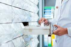 Drawers of pharmaceutical supplies