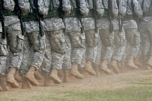 Soldiers running in line
