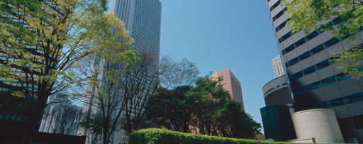KPMG earnings per share handbook publication image: a city public square with tall buildings and trees
