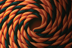 A rope of two colors forming a strong partnership