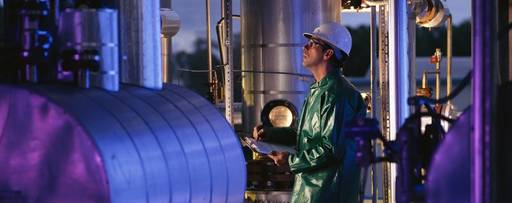 engineer inspecting chemical plant