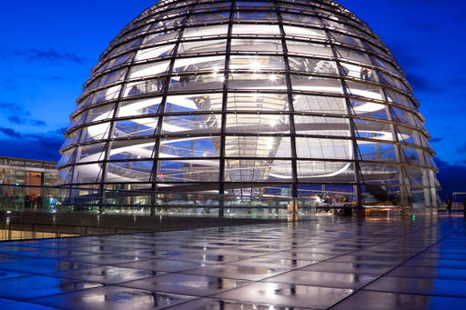 Reichstag dome reflection dusk berlin