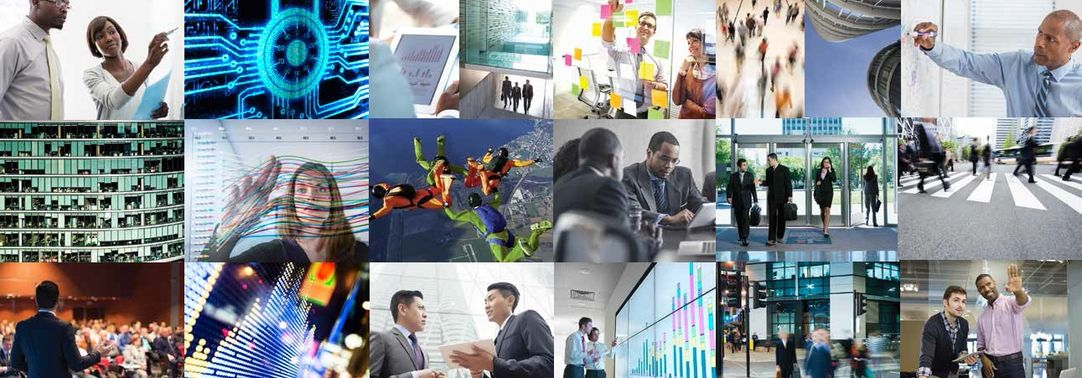 Picture collage of business people at various places