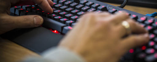 A man using a keyboard