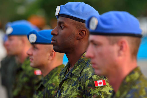Canadian soldiers standing in row
