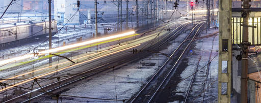 blurred motion of a train at night