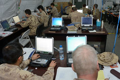 Defense personnel working
