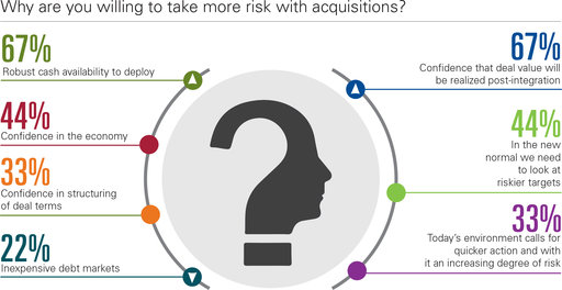 Why are you willing to take more risk with acquisitions? Robust cash availability to deploy; Confidence in the economy; Confidence in structuring of deal terms; Inexpensive debt markets; Confidence that deal value will be realized post-integration; In the new normal we need to look at riskier targets; Today's environment calls for quicker action and with it an increasing degree of risk