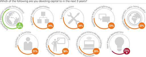 Which of the following are you devoting capital to in the next 3 years?; Geographic expansion; outside home country; Business model transformation; Expanding facilities; Advertising and marketing/branding; Geographic expansion; within home country; Acquisition of a business; Increased employee compensation and training; Internet of Things, machine to machine technology, industrial Intranet or other aspects of technology; New product development