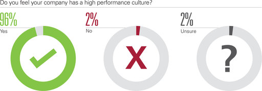Do you feel your company has a high performance culture? yes; no; unsure