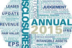KPMG Guides to annual IFRS financial statements 2015 publication image: financial statement and disclosure word cloud