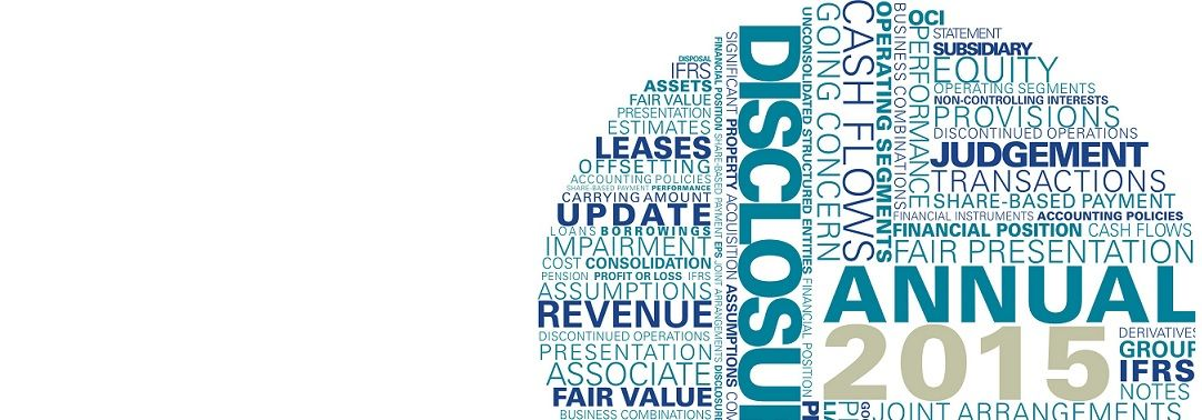 KPMG guides to interim IFRS financial statements 2015 publication image: financial statement and disclosure word cloud
