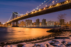 Manhattan Bridge with Snowy Rocks