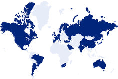 world map in blue gradients