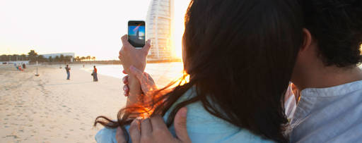 Couple clicking selfie