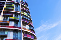 multicoloured balconies