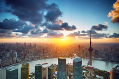 Shanghai sunset over cityscape