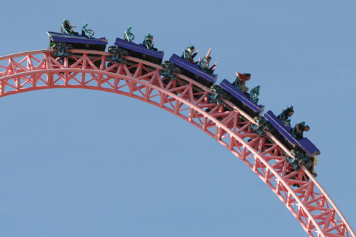 View of people at the top of a rollercoaster