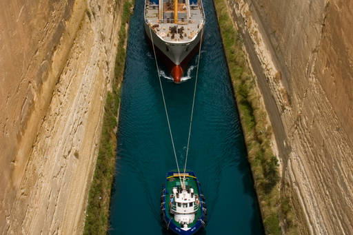Ship passing through the narrow canal