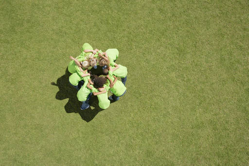 Leading on social mobility - photo of children in a huddle