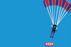 parachuting man landing on a target illustration