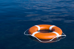 Life buoy floating in the sea