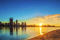 Sunrise over Perth city and Swan river, Western Australia