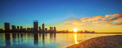 Sunrise over Perth and the Swan River, Western Australia