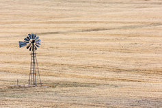 Wind pump on a plain field