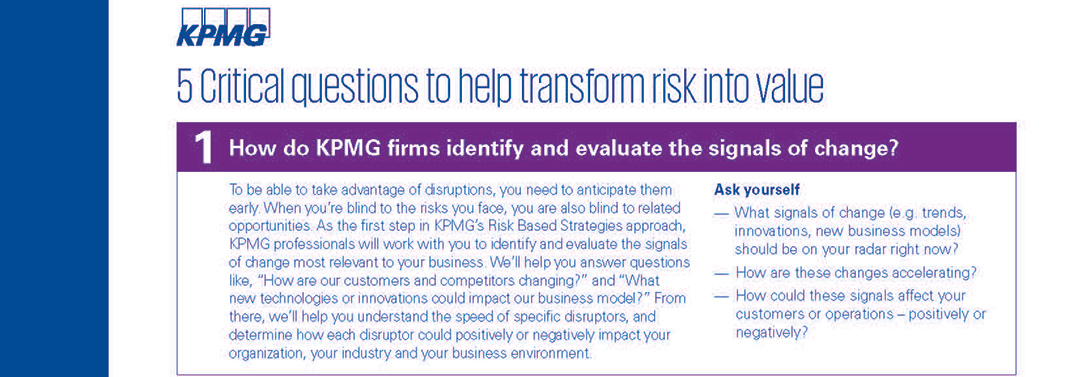 5 Critical questions to help transform risk into value