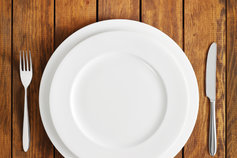 empty plate with knife and fork on either side